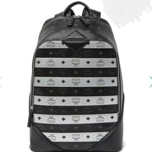 NEW: MCM Black/Silver Medium Backpack
